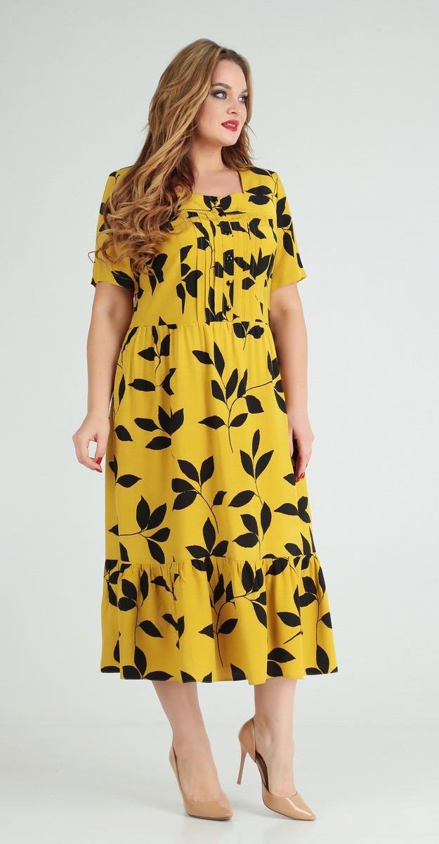 Платье Ксения стиль-1777 белорусский трикотаж, желтый, 54
