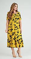 Платье Ксения стиль-1777 белорусский трикотаж, желтый, 54, фото 1