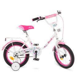 Велосипед детский PROF1 14д. Y1485 Flower, бело-розовый