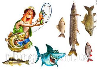 """Вафельна картинка для кондитерських виробів """"Рыбалка"""", (лист А4) 2"""