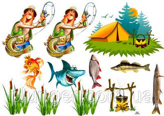 """Вафельна картинка для кондитерських виробів """"Рыбалка"""", (лист А4) 3"""
