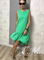 Легкое платье свободного кроя с асимметричной юбкой с оборками, 3цвета, р.42(S),44(M),46(L),48(XL) Код 032Т