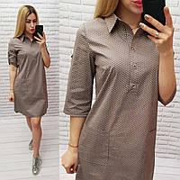 Арт831 Модное платье-рубашка с карманами в мелкий горошек, кофе/ беж/ коричневого цвета/ мокко