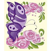 Роспись по полотну для детей - Бабочка в розах. 25х30. На холсте с подрамником. Идейка