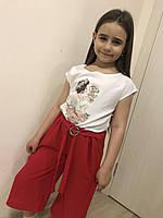 "Брюки на девочку софт + креп-шифон (128-146 см) ""Style Kids"" LM-779"