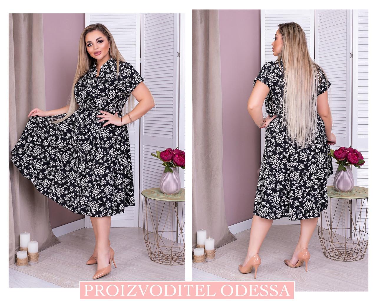 Красивое и легкое платье в мелкий принт, хорошо для работы в офисе р.50-52,54-56,58-60,62-64 код 73Е
