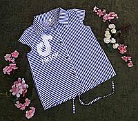 Стильная летняя блуза на девочку на рост 128-152