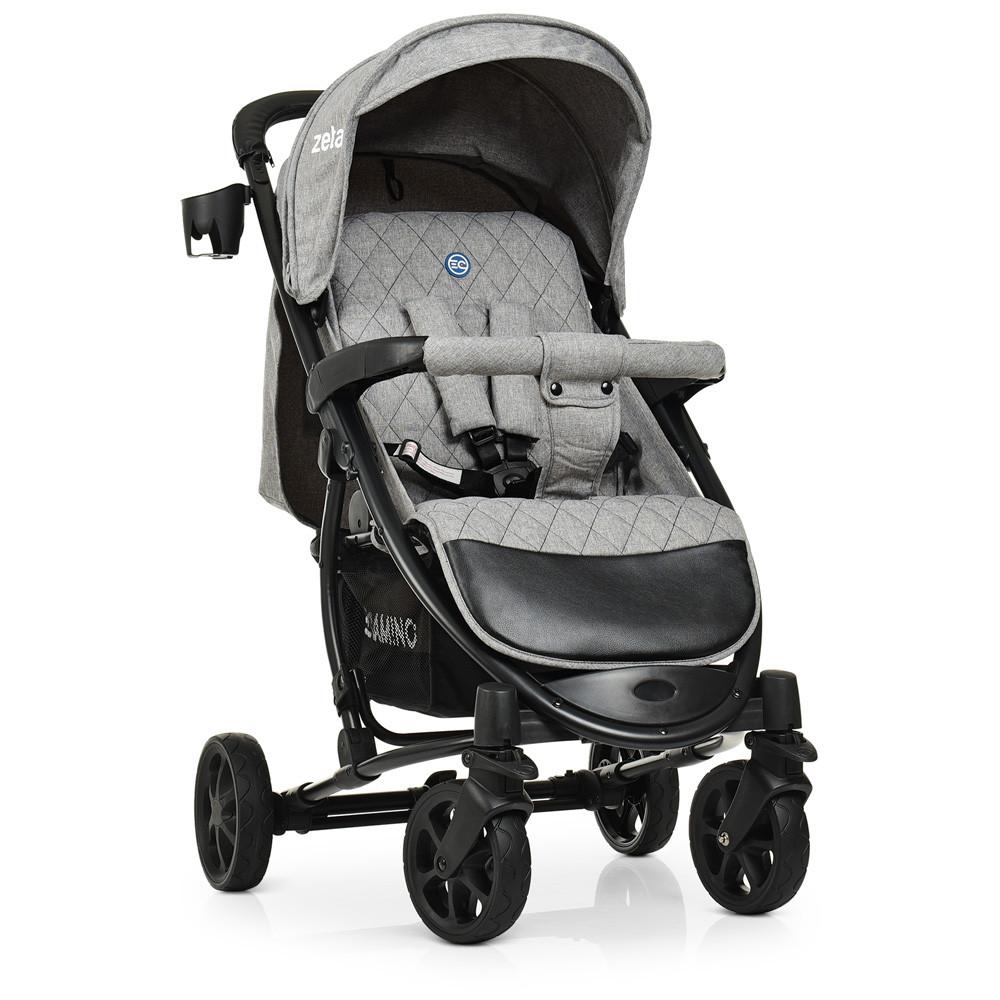 Детская коляска El Camino ME 1011L ZETA Denim Silver серый 5-ти точечные ремни безопасности