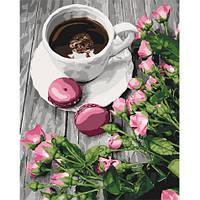Натюрморт - Романтична кава. Картина по номерам на холсте - 40х50. С подрамником. Идейка