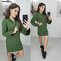 Женское платье-худи цвет хаки N173