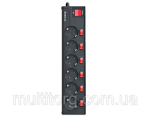 Фильтр-удлинитель REAL-EL RS-6 EXTRA 3m черный (6 розеток с инд. выключателями)