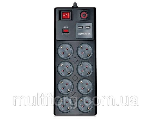 Фильтр-удлинитель REAL-EL RS-8F USB CHARGE 3 метра c USB зарядным (8 розеток + 2 USB)