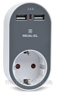 Зарядное USB-устройство c розеткой REAL-EL CS-20 белый-серый