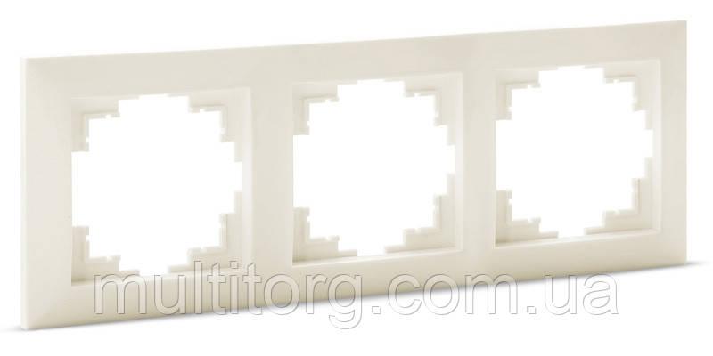 Рамка SVEN SE-60003-C трехместная кремовая