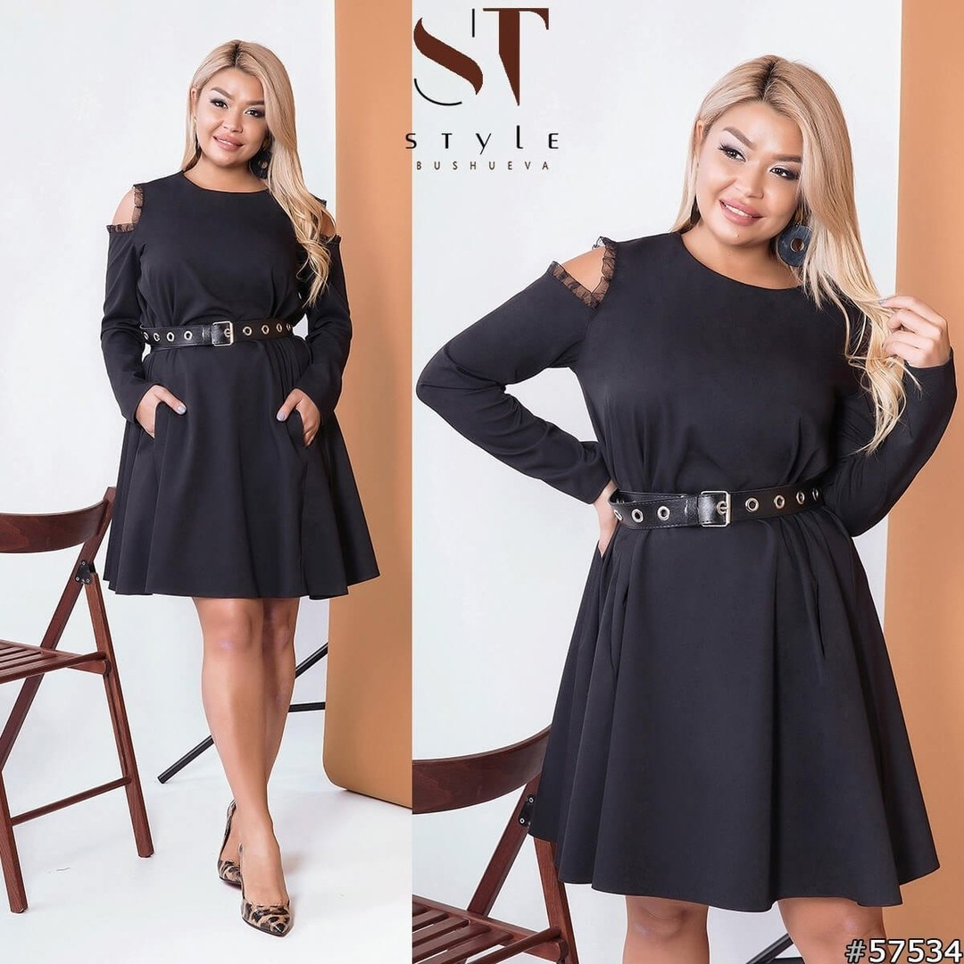 Платье с вырезами на плечах, N171 БАТАЛ,  черное, черное цвета, цвет черный