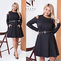 Платье с вырезами на плечах, N171 БАТАЛ,  черное, черное цвета, цвет черный, фото 1