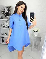 Платье-рубашка с удлиненной спинкой (голубой) N182