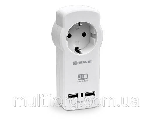Зарядний USB-пристрій з розеткою REAL-EL CS-30 біле
