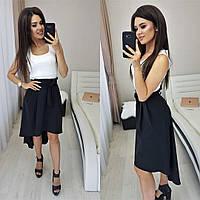 Асимметричная юбка с высокой талией N146 черная