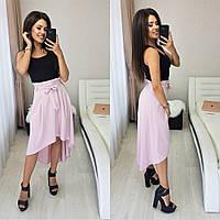 Асимметричная юбка с высокой талией N146 розовая/ пудра