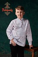 Вишиванка на хлопчика білим по білому/Домоткане полотно або Сорочкова тканина, фото 1