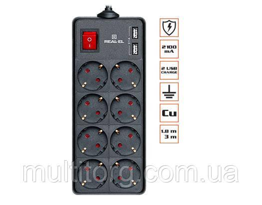 Фильтр-удлинитель REAL-EL RS-8 PROTECT USB 1.8m черный