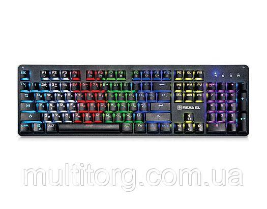 Клавиатура REAL-EL M47 RGB USB механическая игровая с подсветкой