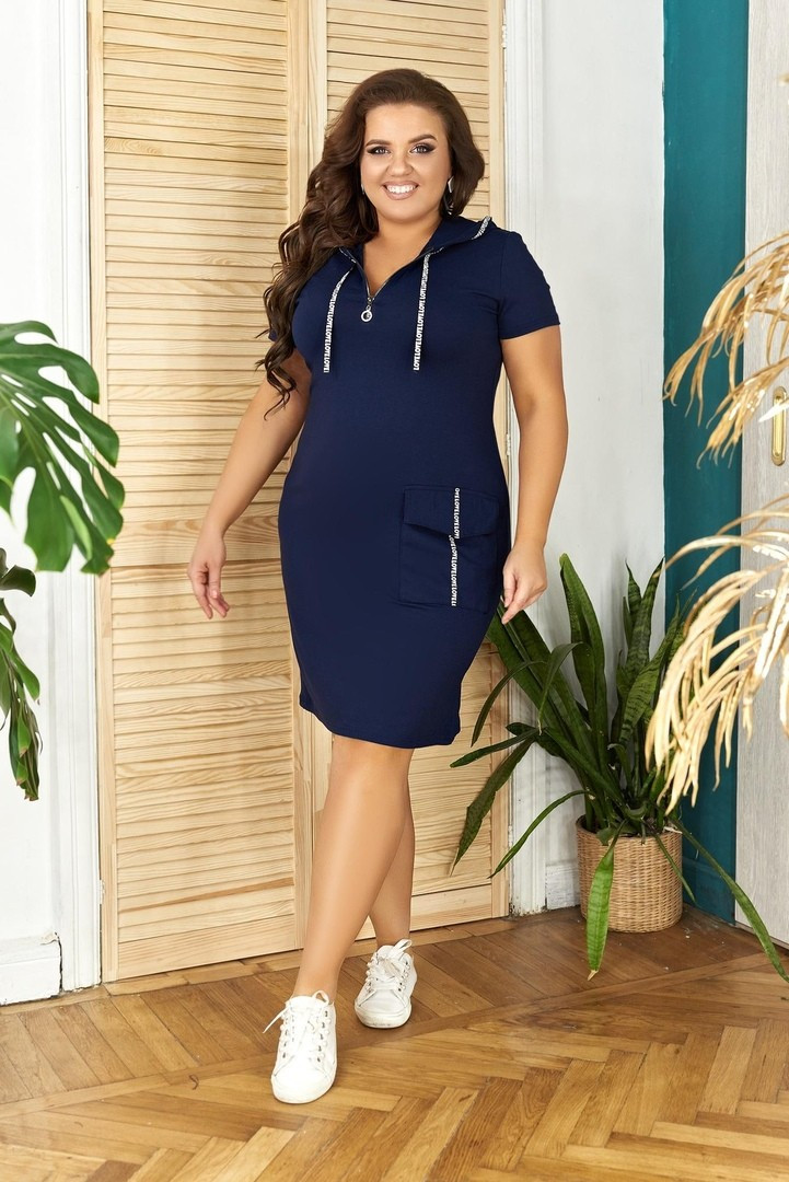 Платье спорт N179 БАТАЛ (р42-56)  синее