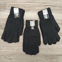 Тёплые перчатки мужские  шерсть одинарные Корона 8116 чёрные ПМЗ-160021, фото 1