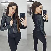 Куртка ветровка тонкая из эко кожи N111 черная / черного цвета/ цвет черный