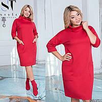 Платье N157/1  из итальянского трикотажа больших размеров р48-58 красное, красного цвета, красный