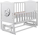 Кровать Babyroom Тедди Т-02 фигурное быльце, маятник, откидной бок  белый, фото 2