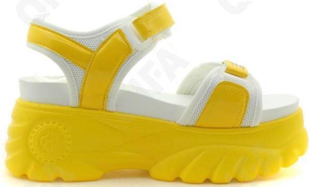 Женские стильные белые босоножки Желтые с белым женские босоножки на липучке