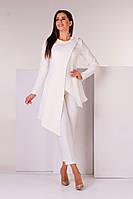С1827 Костюм-двойка брюки и пиджак асимметрия молочного цвета/ молочный, фото 1