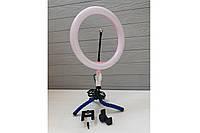 Селфи кольцо, светодиодное на штатив с держателем для телефона и регулятором, диаметр 26 см