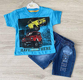 Костюм для мальчика на лето с джинсовыми шортами
