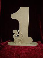 Цифра 1 с пироженком (27 х 24 см), декор