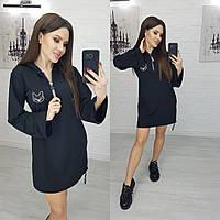Женское черное платье-худи N173