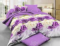 Комплект постельного белья двуспальное евро 200*220 простынь на резинке (14579) бязь Ранфорс