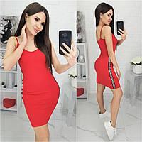 Летнее платье на брительках N178 красное/ красный/ красного цвета/ червоне, фото 1