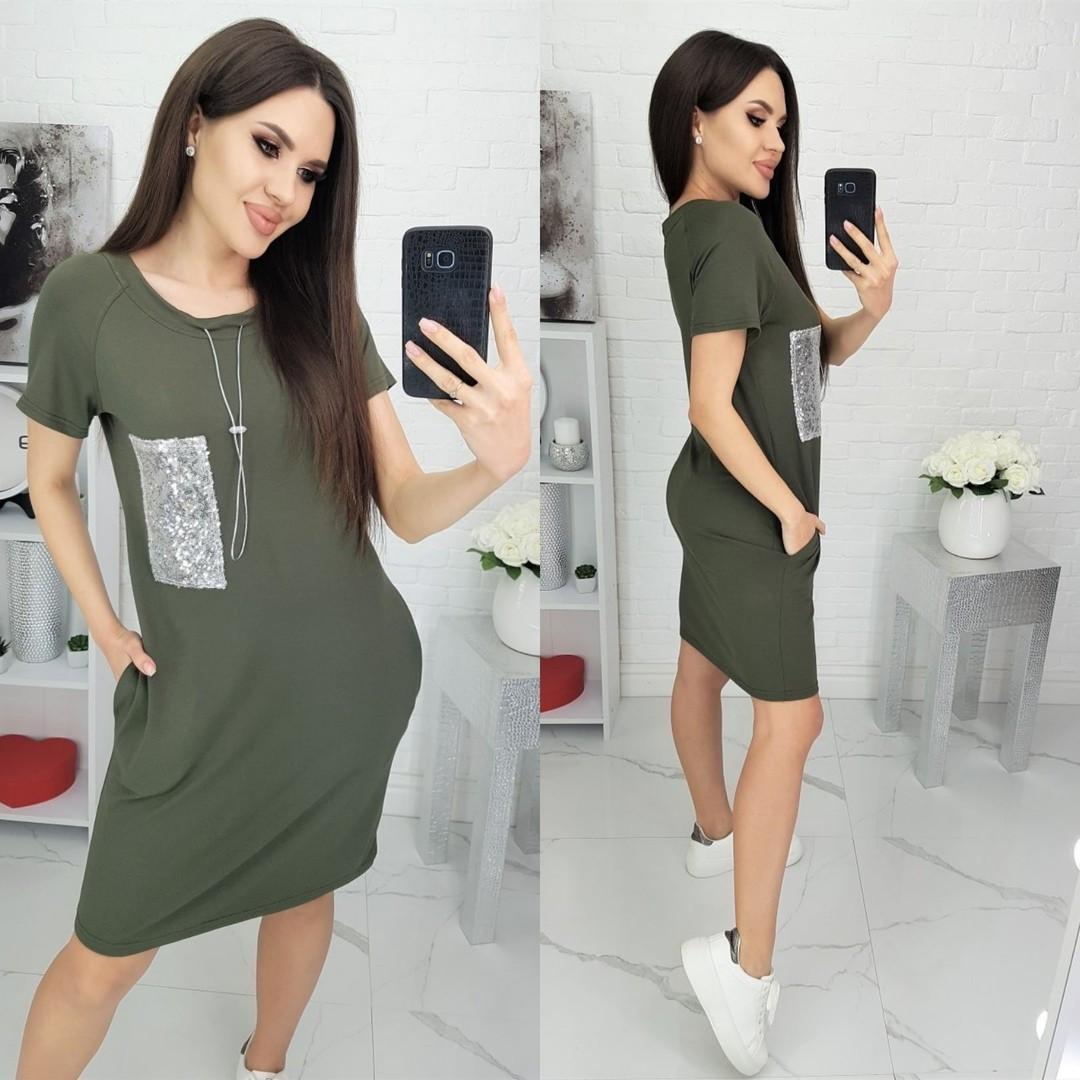 Платье-футболка N180 хаки/ зеленое/ оливковое