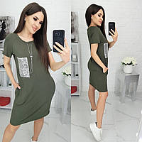 Платье-футболка N180 хаки/ зеленое/ оливковое, фото 1