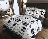 Комплект постельного белья двуспальное евро 200*220 простынь на резинке (14584) бязь Ранфорс