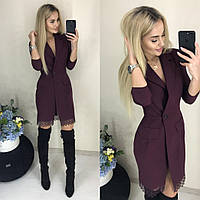 Элегантное платье-пиджак с кружевом N079 бордо/ бордового цвета/ бордовое/ бордовый