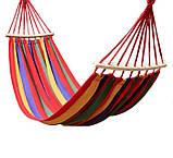 Гамак мексиканский подвесной с деревянной планкой 200x80 см.Лежак с перекладиной,тканевый,для дома,дачи,сада, фото 2