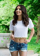 Летняя футболка топ короткая С1820 белая/ белого цвета