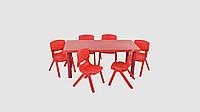 Набор детский столик и 6 стульчиков Красный (KI01290)