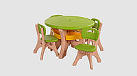 Набор детский столик и 4 стульчика BAMBI 4 полочки Зелено-бежевый (KI01291)