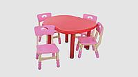 Набор детский столик и 4 стульчика Красный/Розовый (KI01293)