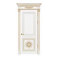 Міжкімнатні двері Casa Verdi Lusso 6 з масиву ясена біла з декором